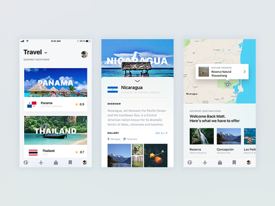 Travel Destination App Exploration sketch typography ios ui travel mobile design cards