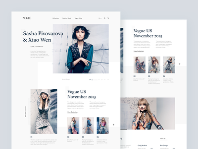 Fashion Landing Page Experiment retro responsive photography ux ui typography fashion vogue layout landing page clean web