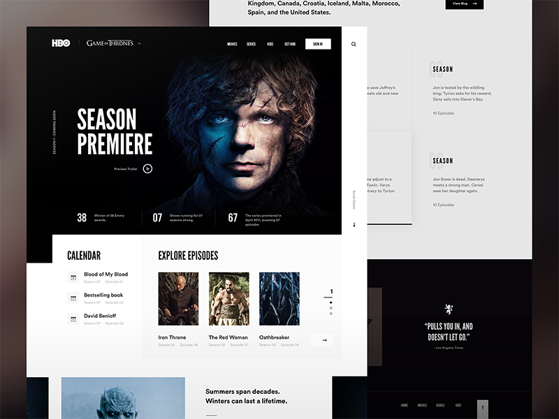 HBO - Game Of Thrones ui type minimal flat clean blog article app web