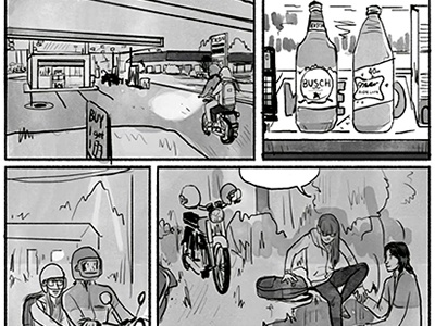 first date motorcycle 40s high life busch illustration comic