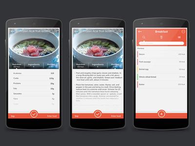 Diet/Recipe screens