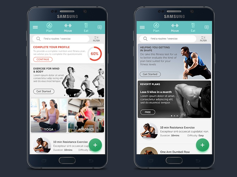 Move Screen mobileapp homescreen userexperience healthapp ux health androidapp fitnessapp appui userinterface ui