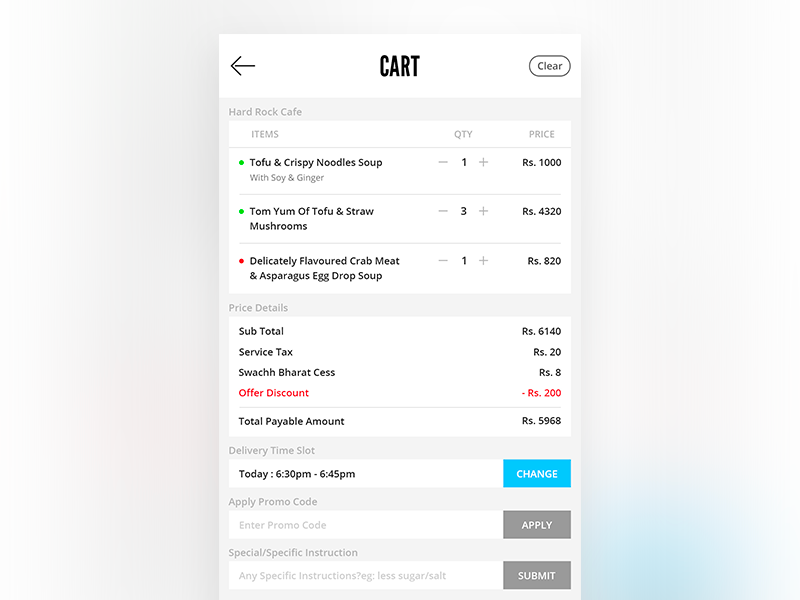 Cart cart cartscreen userinterface appui deliveryapp fooddelivery