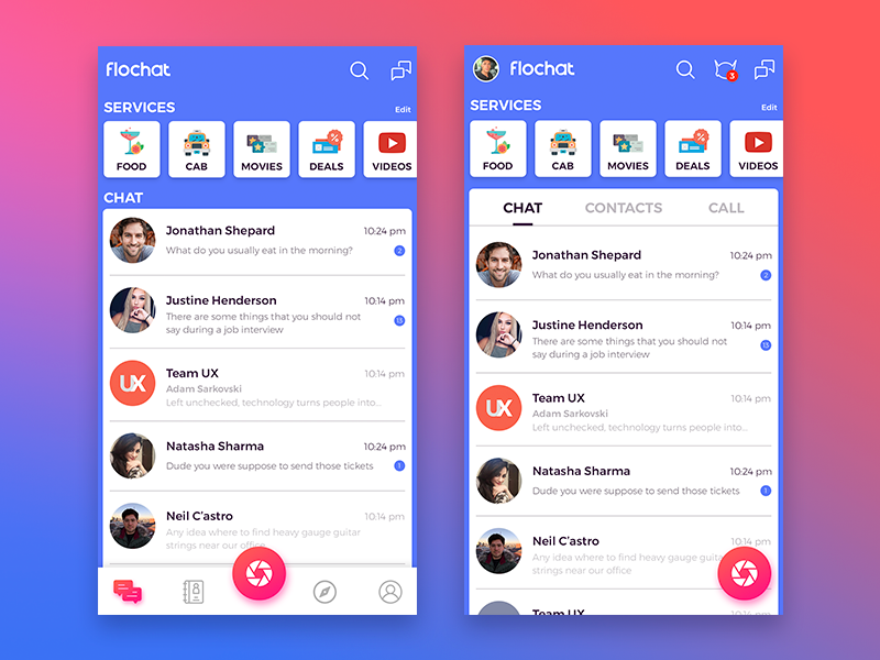 Flochat Home screen chat ui home screen ux ui instant messenger chatapp chat