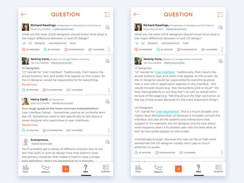 Q&A survey debate poll questionanswer qa appui uid userinterface ui userexperience