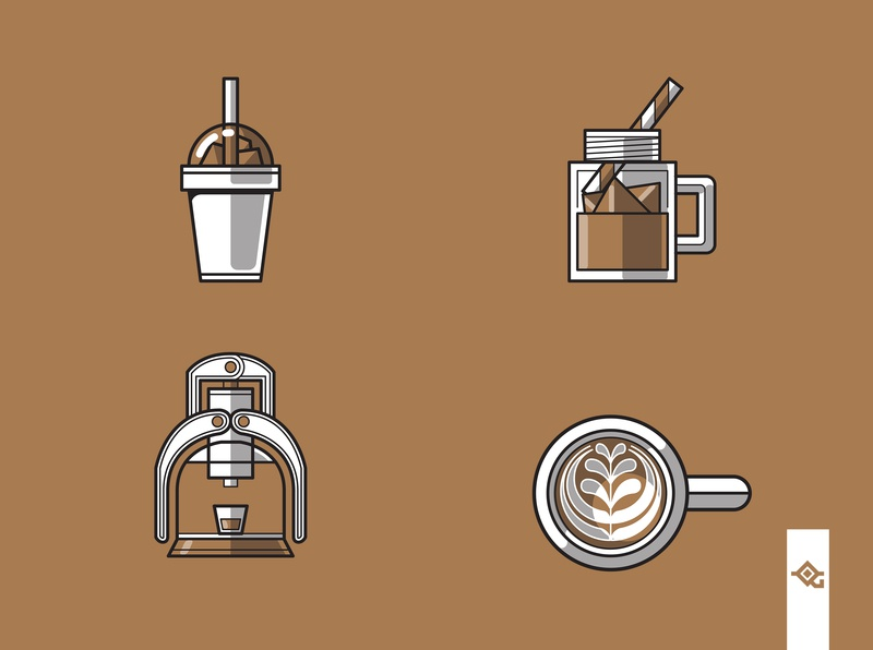 Coffee related icons cold brew frappuccino clean beverage vector caffeine vintage graphic design espresso coffee cafe