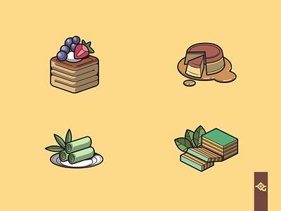 your favourite Dessert yum drool illustrator sweet icon vector food legit lapis indonesia putu flan pastry