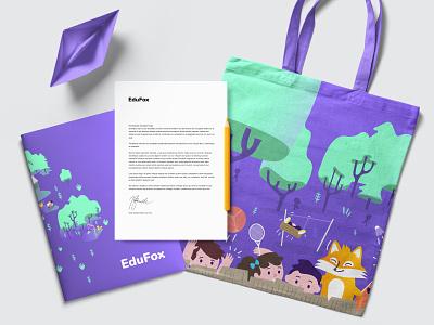 EduFox edufox education fox corporate identity logo brand