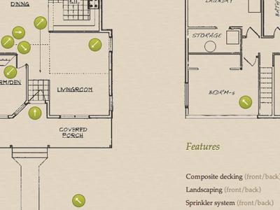 Floorplan palatino plans blueprint arrows olive paper tour