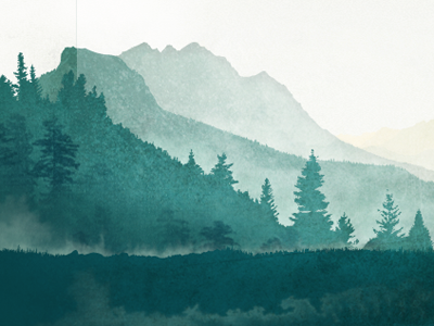 A Distant Mountain watercolor pines mountains stain depth footer texture mist nature oquirrh illustration