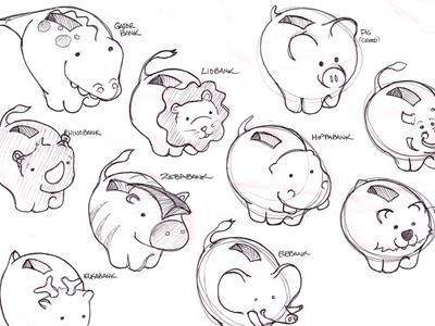 Hippabank sketch kids children animals money cartoon