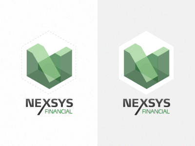 Nexsys logo geometric transparency hexagon cube ffmax isometric