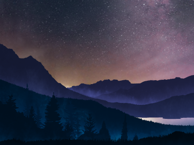 Oquirrh Night Sky night stars mountains pines trees lake mist milky way