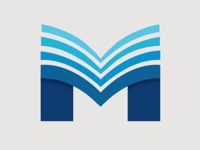 Masstige Printing book lettermark logo m digital