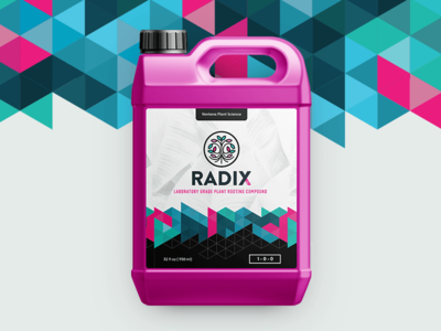 Radix | Rooting Compound triangles modern geometric logo branding packaging nutrients cannabis