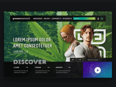 Growers Network marijuana weed agriculture header homepage bright modern network news cannabis web design website