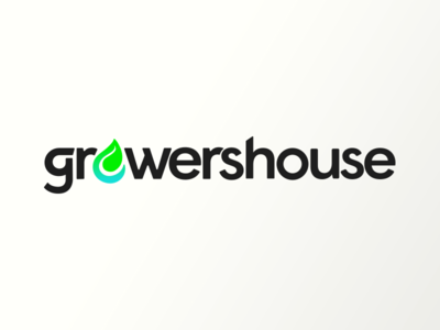 GrowersHouse technology geometric branding cannabis water leaf logo e-commerce hydroponics