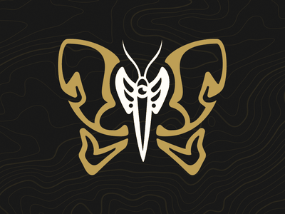 Revival skeleton bones wings branding apparel logo occult butterfly