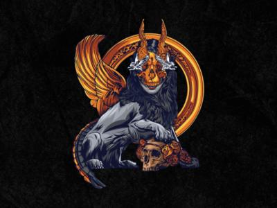 Tarot Desk - Strength cult vector surreal art lion cards alchemy magic tarot illustration