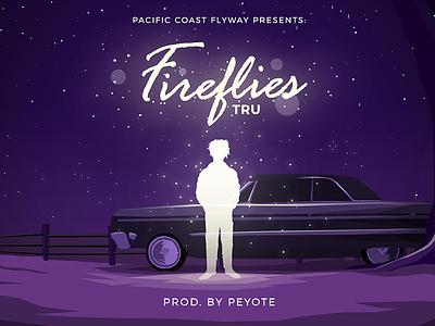 Fireflies Illustration for TRU x Peyote light fireflies typography album art low rider purple illustration