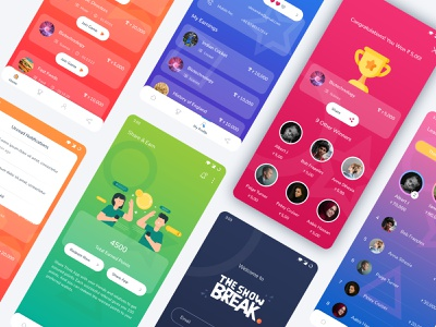The Show Break trending latest android latest trend debut shot debut colors color palette android app design android app online game trivia quizzes quizz quiz android ui ui illustration design branding android