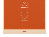 Her Movie Poster Rework her film movie poster print heart valentine orange love