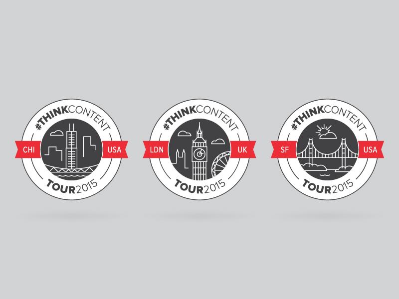 #ThinkContent Tour Seals identity event landmark architecture skyline city london chicago san francisco circle logo seal
