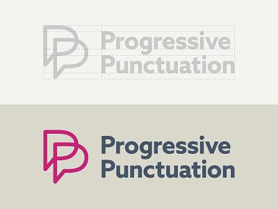 Side project logo contruction sans serif conversation bubble speech p mark logo identity brand punctuation