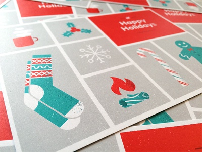 Holiday Card 2016 snowflake grid red coffee gingerbread fire illustration texture card holiday christmas socks
