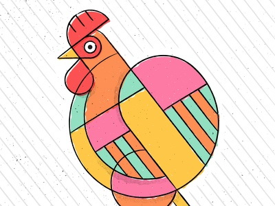 Chinese New Year 2017 orange chicken holiday farm parallel lines animal illustration texture rooster