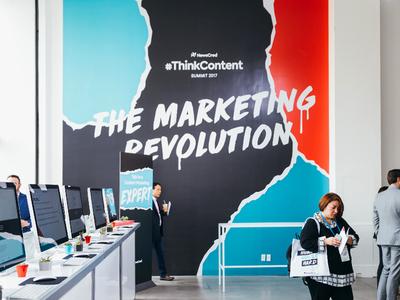 #ThinkContent 2017 Summit Environmental Graphics signage vinyl environmental wall rip tear drip paint venue event theme