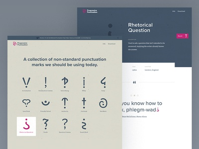 Progressive Punctuation site is live! navigation typography grid home page landing grammar type punctuation site