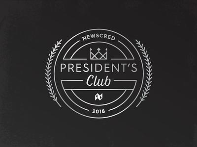 Newscred President's Club 2018 reflection logo foil king crown wheat seal club president