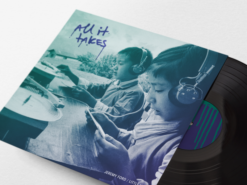 "Cover artwork for ""All It Takes"" print texture vintage gradient hip hop album cover album art album handwritten identity vinyl record music"