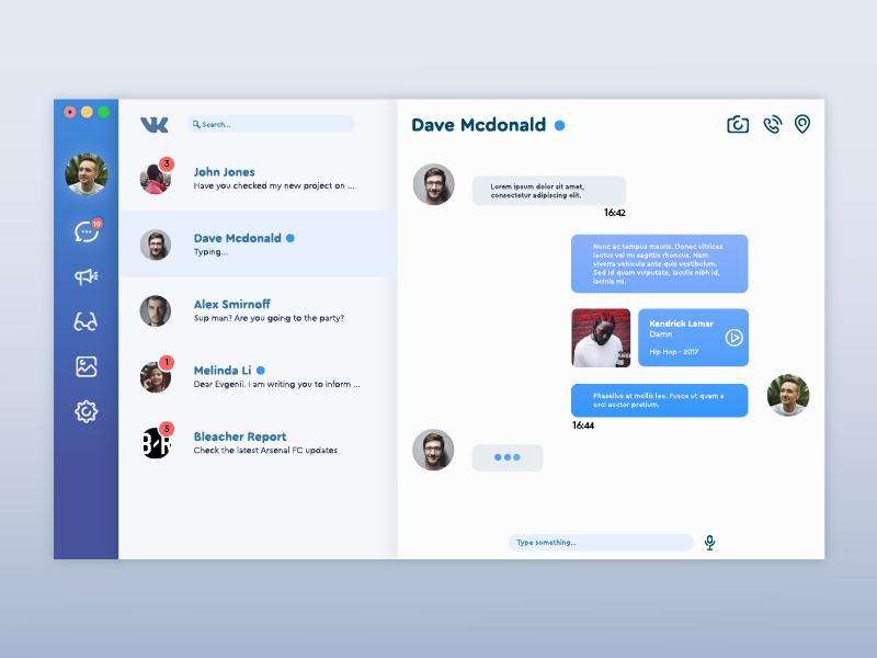 vk com app concept for Mac OS by Evgenii Kondratev on Dribbble