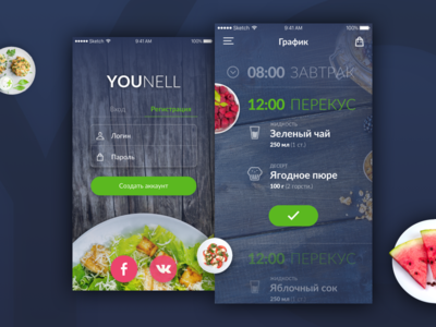 Younell App login nutrition schedule healthy dishes diet food lifestyle mobile app