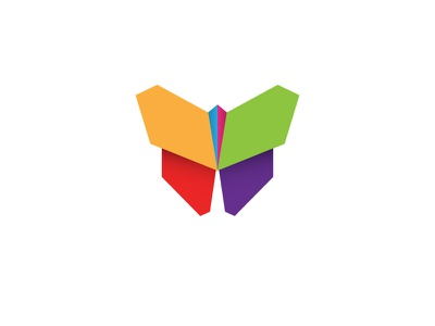 Paper Buttefly transformation paper colors origami butterfly logo icon