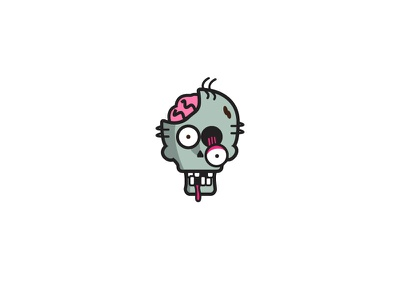 Zombie brains staring zombie head zombie logo icon