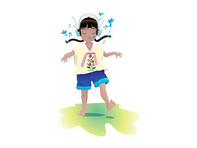 Dancing music dancing girl vectors illustration