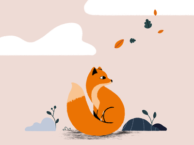autumn colors fall. minimal motiondesign illustration adobe women autumn fall animation design ui fox 2d