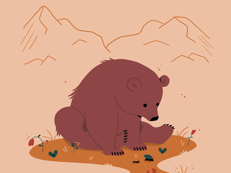 bear in the mountains. character illustration photoshop gif motiongraphics plants graphicdesign minimal 2d women aftereffects animation motiondesign design