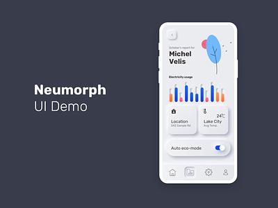 Neumorph UI Demo vector design app illustration dashboard application mobile ui neumorphic neumorph