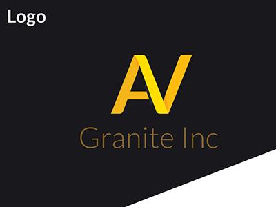AV Granite Inc logo modern logo identity branding business card logo
