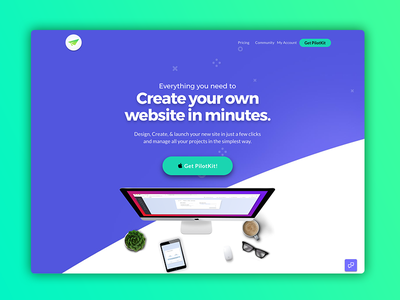 PilotKit V3.0.2 app application start-up company full screen simple page dashboard flat colors flat ui site redesign wordpress