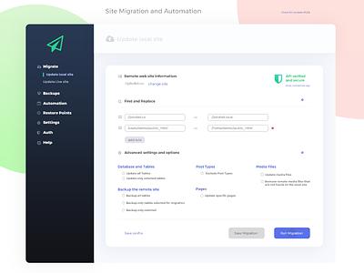 New Migration Plugin for Wordpress app plugin dashboard manager manager interface ui dashboard wordpress wp plugin