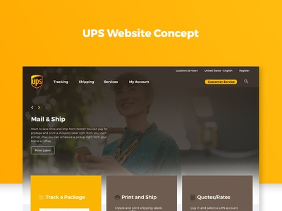 UPS Website Redesign Concept yellow minimal flat homepage ups redesign website