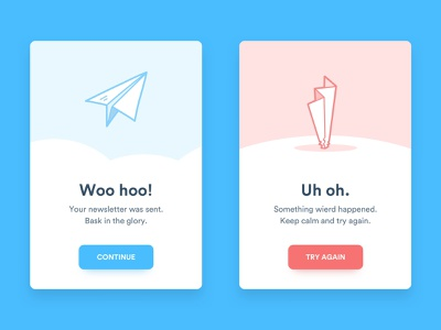 Confirmation and error cards modal success message error message error confirmation flash message flash card ui  ux design ui