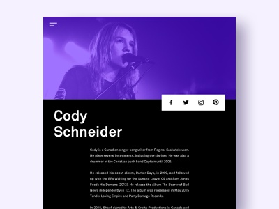 Artist bio and social share minimal typeography ui design web music artist detail page biography
