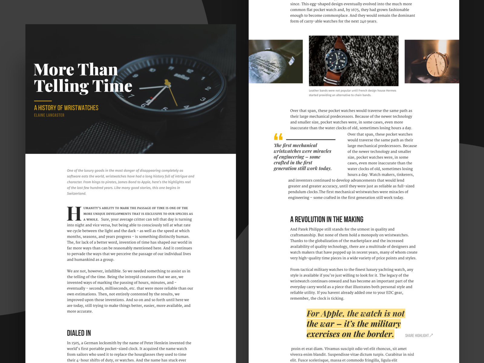 Wristwatch article design by Rich on Dribbble