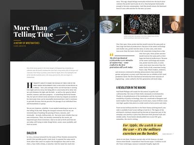 Wristwatch article design pull quote editorial dropcap typography article ui design web ui